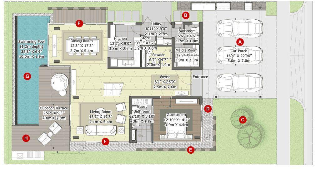 Pine Ground Floor Plan- Embassy Boulevard - Embassy Springs